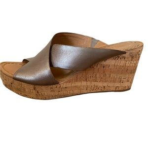 NEW! Nicole brushed pewter/silver cork wedge 9